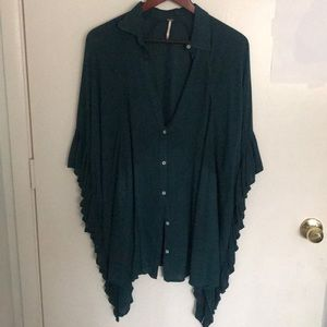 Free People Teal Blouse m/l